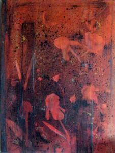 Rouge en fleur, 40 X 30, Techniques mixtes